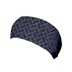 Brick2 Black Marble & Blue Brushed Metal Yoga Headband