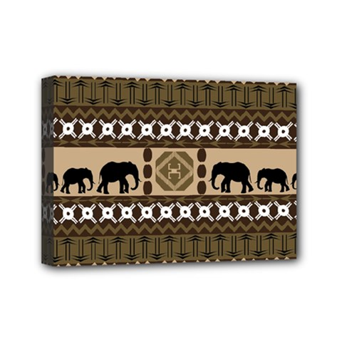 Elephant African Vector Pattern Mini Canvas 7  x 5