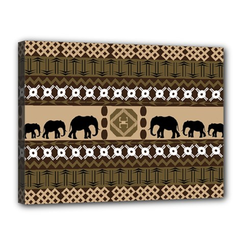 Elephant African Vector Pattern Canvas 16  x 12