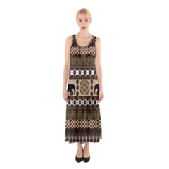 Elephant African Vector Pattern Sleeveless Maxi Dress