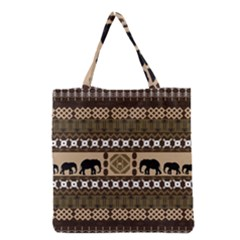 Elephant African Vector Pattern Grocery Tote Bag