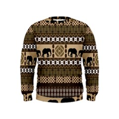 Elephant African Vector Pattern Kids  Sweatshirt