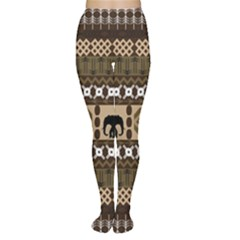 Elephant African Vector Pattern Women s Tights