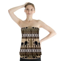 Elephant African Vector Pattern Strapless Top