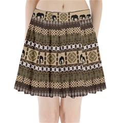 Elephant African Vector Pattern Pleated Mini Skirt