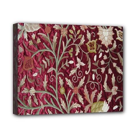 Crewel Fabric Tree Of Life Maroon Canvas 10  x 8