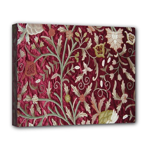 Crewel Fabric Tree Of Life Maroon Deluxe Canvas 20  x 16