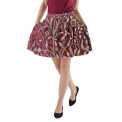 Crewel Fabric Tree Of Life Maroon A-Line Pocket Skirt