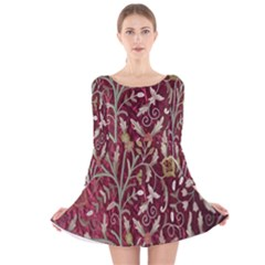Crewel Fabric Tree Of Life Maroon Long Sleeve Velvet Skater Dress