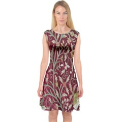 Crewel Fabric Tree Of Life Maroon Capsleeve Midi Dress