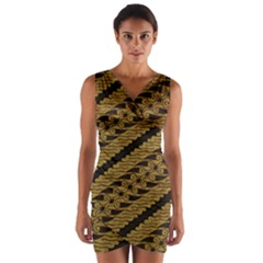 Traditional Art Indonesian Batik Wrap Front Bodycon Dress