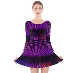 Glass Ball Texture Abstract Long Sleeve Velvet Skater Dress