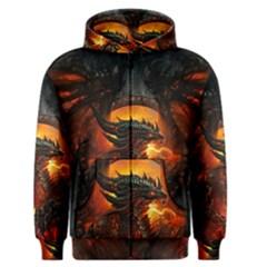 Dragon Legend Art Fire Digital Fantasy Men s Zipper Hoodie