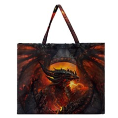 Dragon Legend Art Fire Digital Fantasy Zipper Large Tote Bag