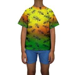 Insect Pattern Kids  Short Sleeve Swimwear