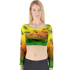 Insect Pattern Long Sleeve Crop Top