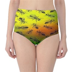 Insect Pattern High-Waist Bikini Bottoms