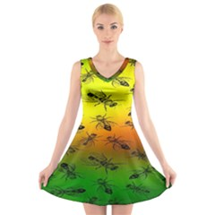 Insect Pattern V-Neck Sleeveless Skater Dress