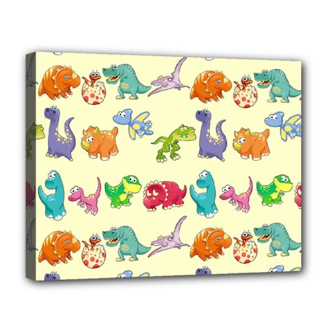 Group Of Funny Dinosaurs Graphic Canvas 14  x 11
