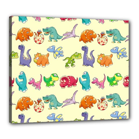 Group Of Funny Dinosaurs Graphic Canvas 24  x 20