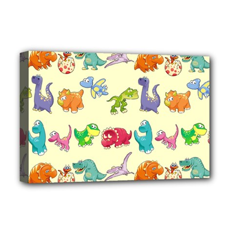Group Of Funny Dinosaurs Graphic Deluxe Canvas 18  x 12