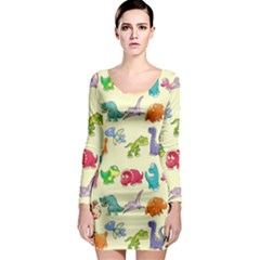 Group Of Funny Dinosaurs Graphic Long Sleeve Bodycon Dress