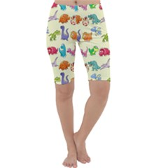 Group Of Funny Dinosaurs Graphic Cropped Leggings