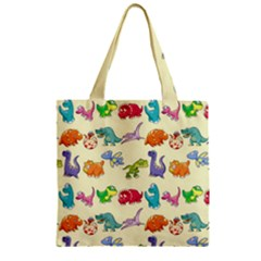 Group Of Funny Dinosaurs Graphic Zipper Grocery Tote Bag