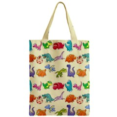 Group Of Funny Dinosaurs Graphic Zipper Classic Tote Bag