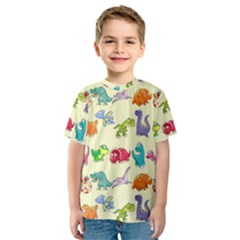 Group Of Funny Dinosaurs Graphic Kids  Sport Mesh Tee