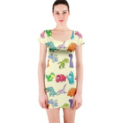Group Of Funny Dinosaurs Graphic Short Sleeve Bodycon Dress