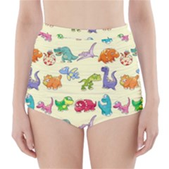 Group Of Funny Dinosaurs Graphic High-Waisted Bikini Bottoms