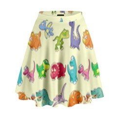Group Of Funny Dinosaurs Graphic High Waist Skirt