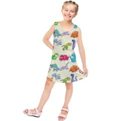 Group Of Funny Dinosaurs Graphic Kids  Tunic Dress