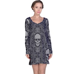 Dark Horror Skulls Pattern Long Sleeve Nightdress