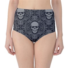 Dark Horror Skulls Pattern High-Waist Bikini Bottoms