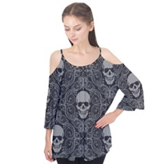 Dark Horror Skulls Pattern Flutter Tees