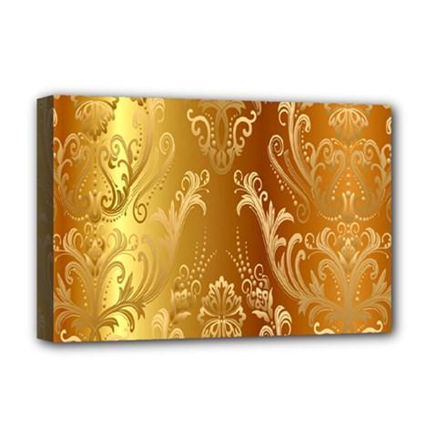 Golden Pattern Vintage Gradient Vector Deluxe Canvas 18  x 12