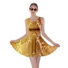 Golden Pattern Vintage Gradient Vector Skater Dress