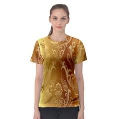 Golden Pattern Vintage Gradient Vector Women s Sport Mesh Tee