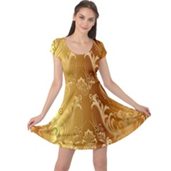 Golden Pattern Vintage Gradient Vector Cap Sleeve Dresses