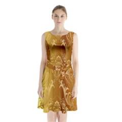 Golden Pattern Vintage Gradient Vector Sleeveless Chiffon Waist Tie Dress