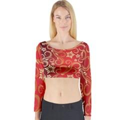 Golden Swirls Floral Pattern Long Sleeve Crop Top