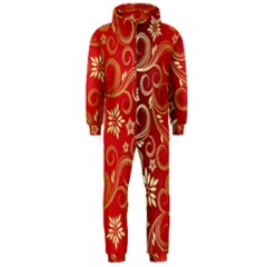 Golden Swirls Floral Pattern Hooded Jumpsuit (Men)