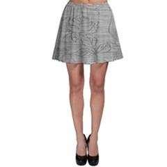 Embossed Rose Pattern Skater Skirt
