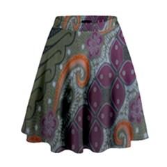 Batik Art Pattern  High Waist Skirt