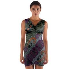 Batik Art Pattern  Wrap Front Bodycon Dress