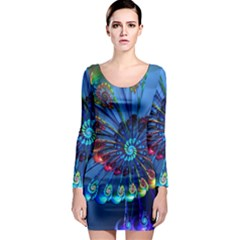 Top Peacock Feathers Long Sleeve Bodycon Dress