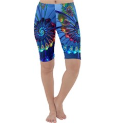 Top Peacock Feathers Cropped Leggings