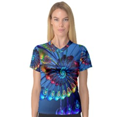 Top Peacock Feathers Women s V-Neck Sport Mesh Tee